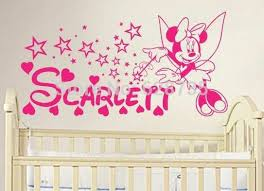 lovely baby girl wall decor for diy minnie mouse personalized name vinyl wall decal