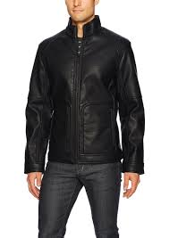 men s faux leather bonded sherpa jacket s nautica