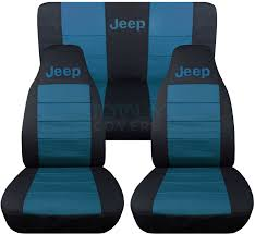 jeep wrangler black and teal jeep logo seat covers