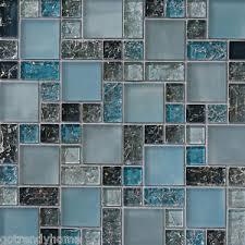blue mosaic tile backsplash. Interesting Tile Image Is Loading SAMPLEbluecrackleglassmosaictilebacksplashKitchen Throughout Blue Mosaic Tile Backsplash EBay