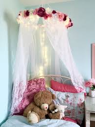 Bed Canopy Diy Pink And Blue Girls Room With Canopy And Tree Mural Tiny Shabby