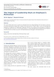 the impact of leadership style on employee s motivation pdf  the impact of leadership style on employee s motivation pdf available