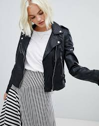 women s clothing black pull bear leather biker jacket in black fully lined mxokcqx 1338151