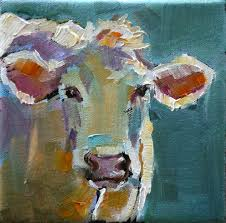 cows are more fun to paint than bunnies painted this cow on a 5 x 5 gallery wrap canvas sold