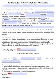Lease Violation Form Free Eviction Notice Templates Notice To Quit Pdf And Word
