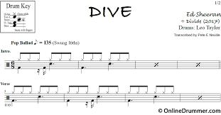 ed sheeran sheet music dive ed sheeran drum sheet music onlinedrummer com