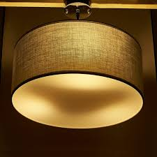 modern ceiling pendant light retro lamp shade grey white fabric drum shade new
