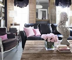 living room ideas leather furniture. feminine style living room decoratin ideas with black leather sofa furniture r