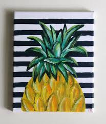 pineapple art pineapple painting kitchen art dining room art bar cart fruit painting tropical art acrylic painting 8x10 canvas