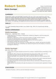 Mobile Developer Resume Mobile Developer Resume Samples Qwikresume
