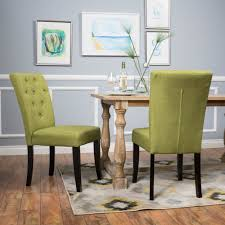 dining room interesting modern dining chairs fabric upholstery green color tufted on back details wood frame