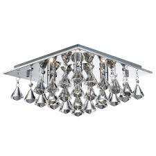 hanna square chrome 4 light flush ceiling fitting with clear crystal prisms
