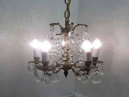 vintage petite brass crystal chandelier 5 arm light by dondilights from vintage crystal chandeliers