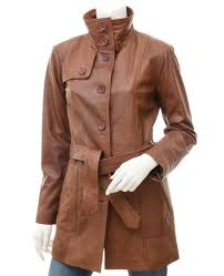 more views womens leather trench coat in brown