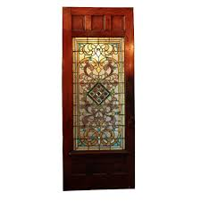 sold large 38 antique oak front door with jeweled stained glass 1800 s
