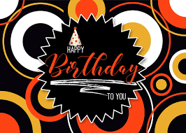 Black Happy Birthday Happy Birthday Geometric Circles In Orange And Yellow On Black