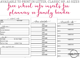 Printable Binder Inserts School Planner Inserts Free Planner And Family Binder