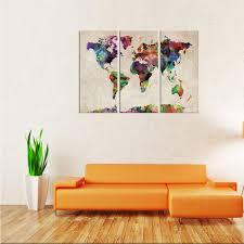 map of decor best canvas wall art 3 panels abstract color world map picture