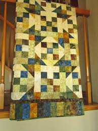 Patchwork Quilt Homemade Blue Green Brown and Gold Lap Quilt Home ... & Patchwork Quilt Homemade Blue Green Brown and Gold Lap Quilt Home Decor -  $249.00 - Handmade Adamdwight.com