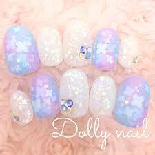 Dnショートオーバル爽やかブルーパープル水色と紫のキラキラ小花