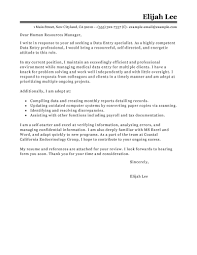 Human Resource Assistant Cover Letter The Sample Hr Picture