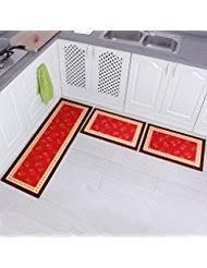 red kitchen rugs. Carvapet 3 Piece Non-Slip Kitchen Mat Rubber Backing Doormat Runner Rug Set, Rose Red Rugs