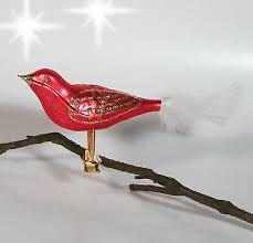 Christbaumschmuck Christbaumkugel Glas Vogel Rot Silber Mit