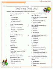 printable day of the dead quiz teaching dia de los muertos  day of the dead quiz