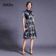 <b>ARiby</b> Fashion <b>Women</b> Elegant Slim Floral Printed Black <b>Dress</b> ...