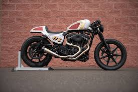 the get lowered harley sportster cafe bike was transformed from a stock 2004 sportster 883