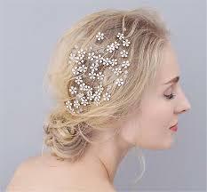 Floral Strass Coiffure Nuptial Peigne à Cheveux Cristal Or