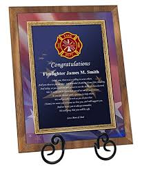 firefighter academy graduation gift fire graduate present walnut plaque with easel personalized fireman poetry fire