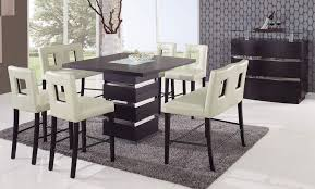 impressive tall square dining table with grey carpet and white chairs with contemporary console table