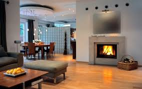 Wood Living Room Set Mesmerizing Living Room Design Idea With Gas Fireplace Also Dining