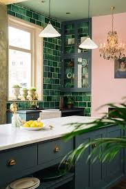 Green tiles, handmade ceramic pendants, oil paintings, pink walls and an  antique chandelier Green and pink interiors and home dcor.