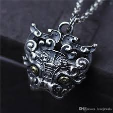 whole 925 sterling silver pendant vintage marcasite pendant domineering man retro pendant taiyin mens necklace hip hop jewelry heart pendant necklace
