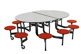 amtab oval shape powder coated black frame cafeteria tables with stool seating