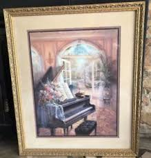 large framed home interiors print picture by j gibson piano courtyard on autumn tree set of 3 framed wall art prints with home interior framed prints ebay