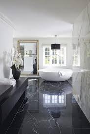 black marble floor tile with nice bowl tub for luxury bathroom ideas and design