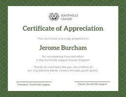 Volunteer Certificate Green Olive Tree Leaves Volunteer Appreciation Certificate