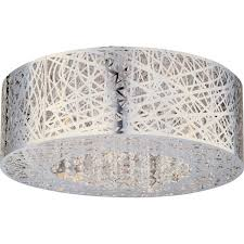 modern polished chrome drum shade flush mount with crystal chandelier inside full size