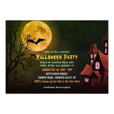 Halloween Invitations Cards Creepy Haunted House And Bats Graveyard Halloween Invitation