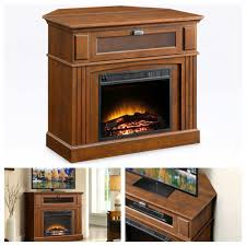 details about corner electric fireplace tv stand holder media entertainment heater brown
