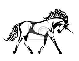Cavallo Unicorno In Esecuzione Bianco E Nero Disegno Vettoriale