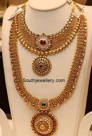 Gold Necklace And Haram Set Designs Antique Gold Necklace And Haram Set Jewelry Design Gold