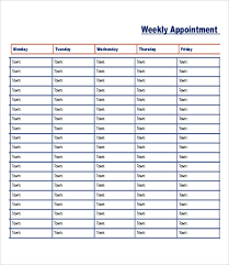 Scheduling Forms Printable Printable Appointment Schedule 14 Free Excel Pdf