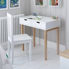 white study desk with 2 drawers and natural wood legs