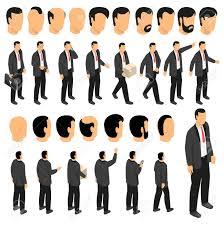 スーツの男人形入り実業家キャラクター作成とネクタイとフロント サイド