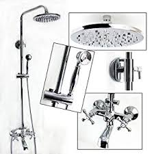 bathtub faucet with shower head. exposed wall mount shower and tub filler faucet set with large solid brass rainfall head handheld dual cross handles swivel bathtub r