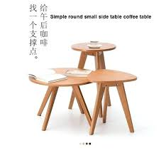 small round wooden side table solid wooden coffee table round small table simple sofa side margins